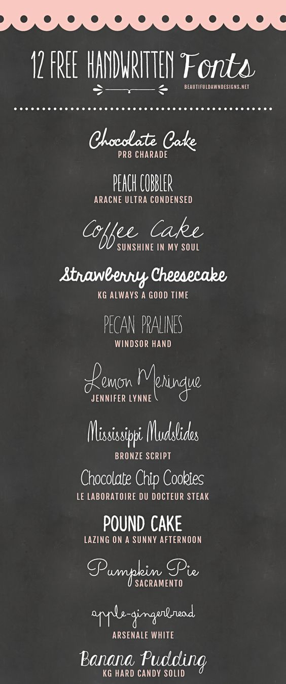 12 Free Handwritten Fonts @ Beautiful Dawn designs ~~ {w/ easy download links} ~~:
