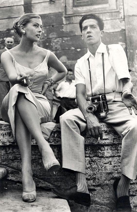 âAnita Ekberg & Photographer Pierluigi Praturlon⦠On the set of âLa Dolce Vitaâ Rome 1960 â