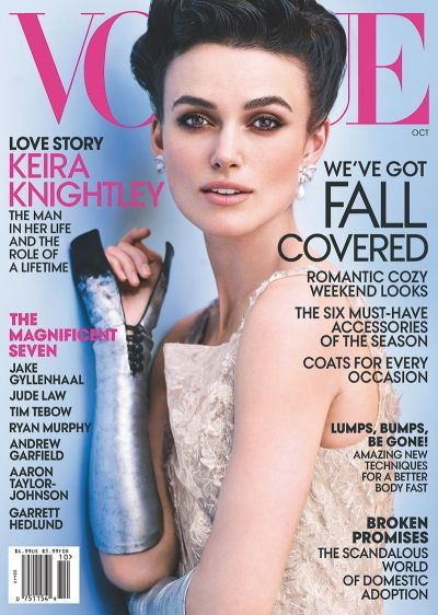 Magazine: Vogue US  Issue: October 2012  Cover Star: Keira Knightley  Featuring Stars: Jude Law, Aaron Taylor-Johnson  Stylist: Grace Coddington  Photographer: Mario Testino