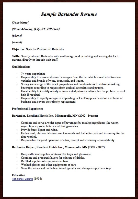 Here comes another free Sample Bartender Resume example, you can - bar tender resume