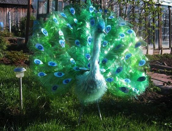 Yard decorations recycle plastic bottles and plastic for Plastic bottles decoration pieces