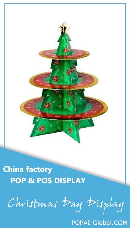 Cardboard Christmas Tree Cake Stand 3 Tier Cupcake Stand Custom Christmas Corrugated Cardb Cardboard Display Cardboard Display Stand Cardboard Christmas Tree