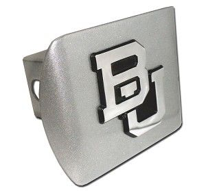 Baylor University BU Brushed Chrome Hitch Cover. Made in the USA. A step above in quality and appearance. Hitch Cover Front plate 5 x 3.5 Fits standard 2 trailer hitch receivers.