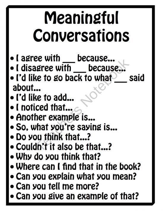 This would be good to pass out at the beginning of the year to use during group discussions. I have found that middle school students have a hard time staying on track with read and discuss types of assignments. This would help make for more productive conversations.