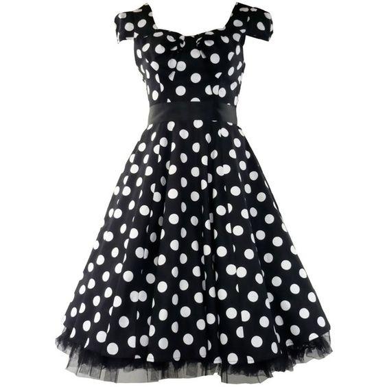 Tiger Milly 50's Vintage Tea Prom Dress Big Polka Dot Black & White ($59) ❤ liked on Polyvore