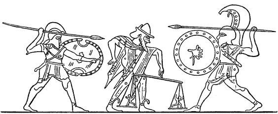 """Kerostasie – Abwägen der Keren durch Zeus mit der """"Goldenen Waage"""" beim Kampf zwischen Achill und Memnon   (Lekythos aus Capua) - Nach Hesiod waren Ker bzw. die Keren Kinder der Nyx: Nyx nun zeugte die Ker, die umdüsternde, Moros, den grausen, Thanatos dann und den Hypnos zugleich mit dem Schwarm der Oneiren. Auch die Moiren gebar sie, die grausam strafenden Keren, welche, der Menschen und Götter Vergehungen strenge verfolgend, nie, die Göttinnen ruhn vom schrecklichen Grimme des Zornes."""