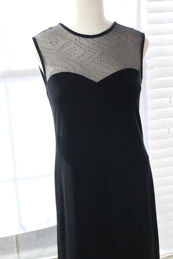 Black Velvet Evening Dress Stretch Velvet Party Maxi Long SiZe 10 Robbie Bee  #RobbieBee #SweetheartNeckline #Evening