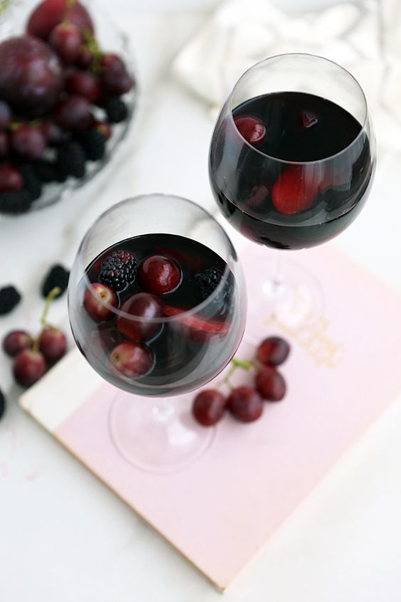 for black sangria features dark red wine, blackberries, black plums ...