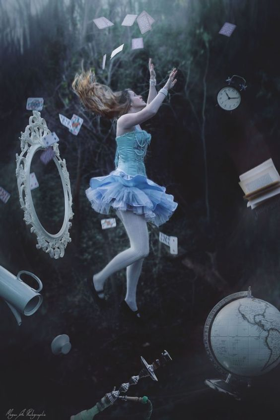 Image result for alice falling down rabbit hole tim burton