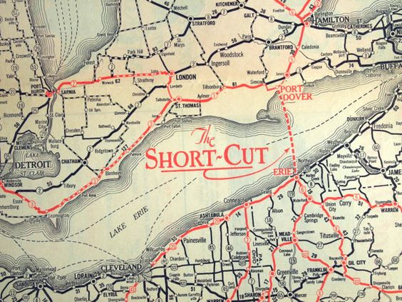 Vintage Map Of The Lake Erie Area Circa The Short Cut Between Canada And The Us