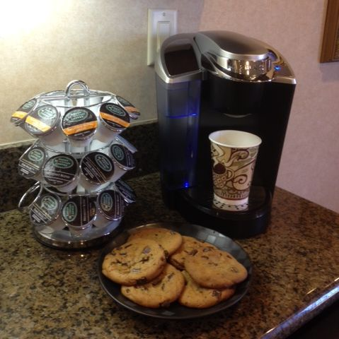 Our patients are treated to chocolate chip cookies, hot coffee and cold drinks when they come visit us!