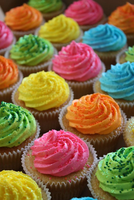neon cupcake- on dark chocolate might give it even more color punch, plus a decoration- perfect.