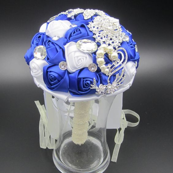 Elegant Customized Bridal Wedding Bouquet With Pearl Beaded Brooch And Silk Roses,Romantic Wedding Colorful Bride 's Bouquet 02