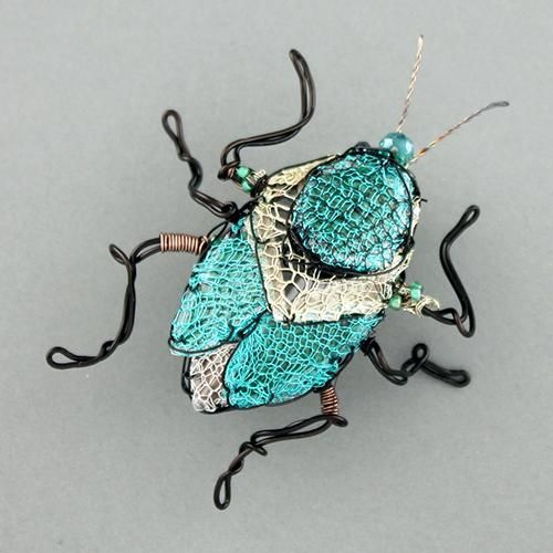bug brooch - turquoise by susan horth