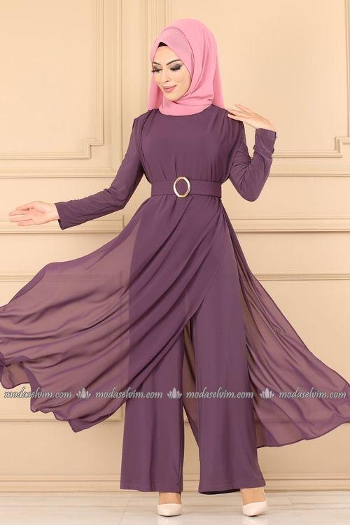 Modaselvim Tulum Sifon Pelerinli Tesettur Tulum 2216ms212 Lila Elbiseler Abaya Tarzi Elbise Tarzlari