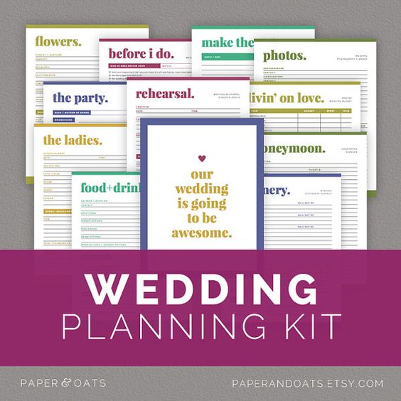 Wedding Planning Kit, Wedding Planner PDF, Wedding Checklist - wedding checklist pdf