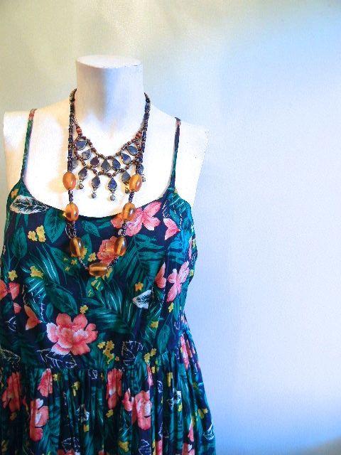 vintage.  Dark Blue Floral Gauze Cotton Summer by styleforlife, $42.25