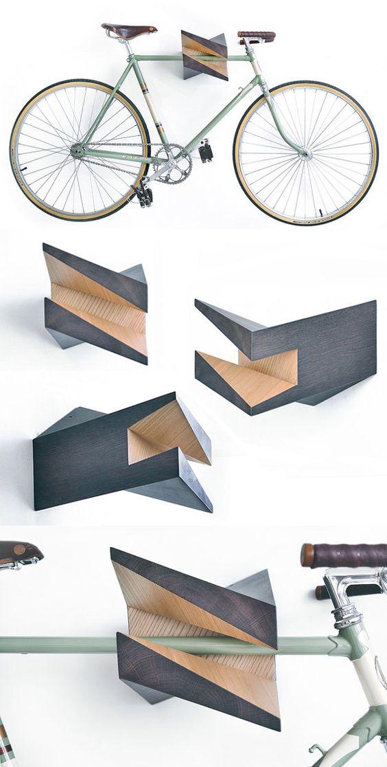 "Oak Wood Bike Hanger ""Iceberg"" by Woodstick Ltd.. $644.90 USD, via Etsy."