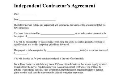 Independent Contractor Agreement Contractor Agreement Contract Contractor Contract Sample Contractor Contract Contract Template Contractors