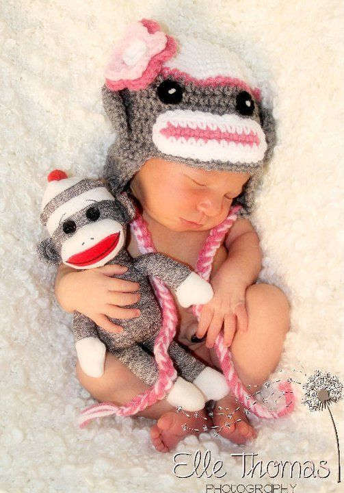 Sock Monkey hat picture. When I have kids I need this hat...Preston was obsessed with his sock monkey as a kid. this would make an oober cute picture!