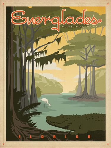 Vintage poster. I have been there and it was amazing. Not just swamp and alligators.