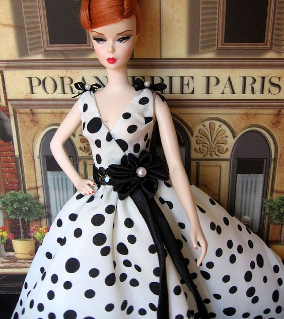 Barbie Silkstone dalmatian  dot dress:
