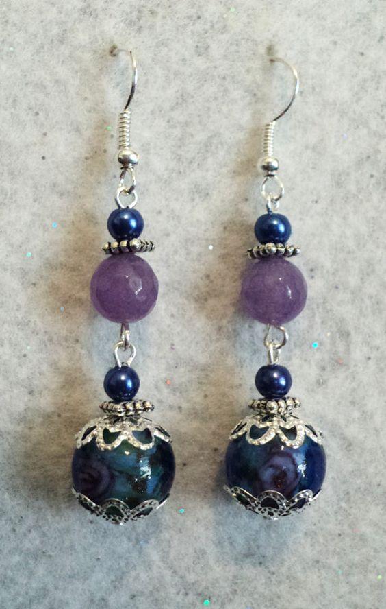 Dangle Earrings Lampwork Earrings Purple and by uniquelyyours2010