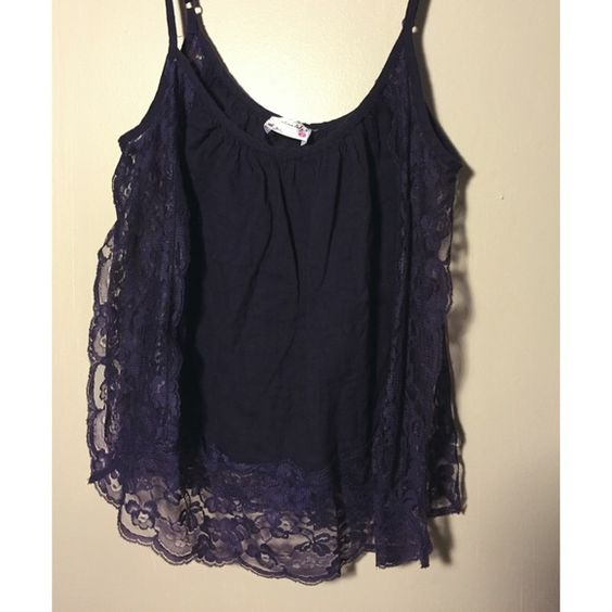 Purple Free People Lace Tank Beautiful Free People laced tank, open on the side. Perfect for the summer at a concert or festival!! Free People Tops Tank Tops