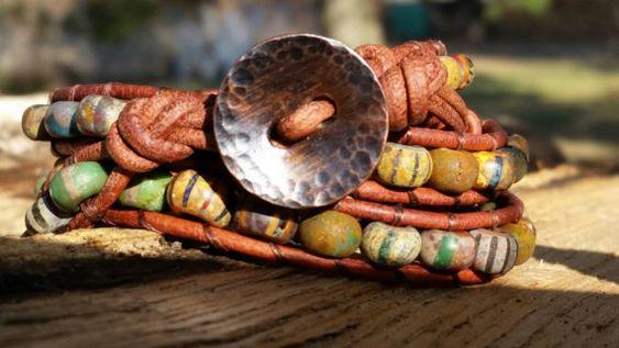 triple wrap leather bracelet aged czech by offbeadinpathneosho