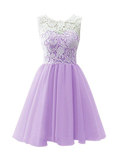 Dresstells® Scoop with Lace Short Tulle Wedding Dress, Cocktail, Party, Prom, Evening Dress Lavender Size 6 Dresstells http://www.amazon.co.uk/dp/B00R2MXAII/ref=cm_sw_r_pi_dp_973Mvb0200KKM