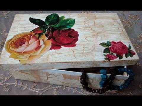 بديل الكراكليه و ديكوباج على علبة كرتون Youtube Decoupage Projects To Try Decorative Tray