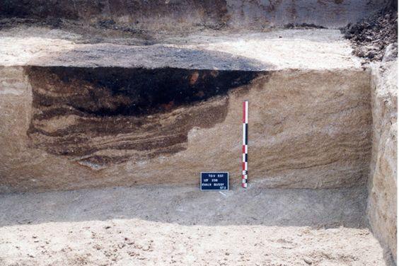 Vue en coupe d'une fosse dépotoir.Cl. : Alexandra Mondoloni/Inrap
