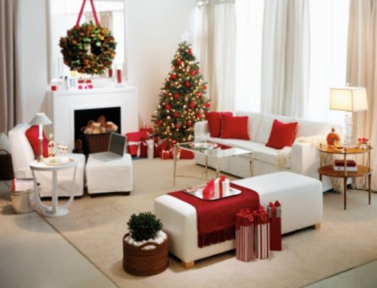 christmas living room idea white red color fashionable decorating ideas