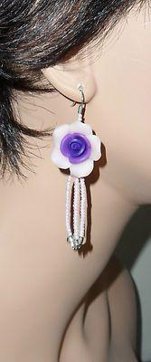 Pink and Purple Rose Beaded Earrings Sterling Silver Hooks