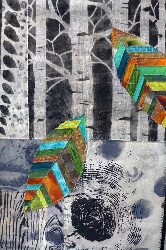 Sabine Schneider (D): Falling Leaves, Detail Ausstellung 'Forest for Ever' 7. Quiltfestival Luxembourg