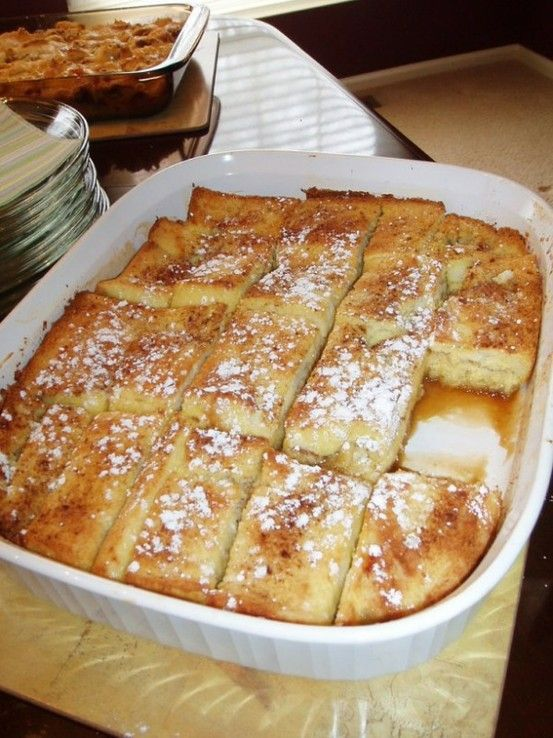 Delicious French Toast Bake Recipe    Last weekend I made a French Toast Bake for a bridal shower brunch. I love this recipe because it is so easy (Fia could do this by herself), economical (most expensive ingredient was the Texas Toast at $2), & oh-so-delicious! The best part is that it is made the day before so there is no fuss on the day you con - Click image to find more hot Pinterest pins