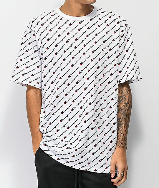 Hurt buty skate najlepsza cena Champion Heritage All Over Print White T-Shirt | Outfit 3 in ...