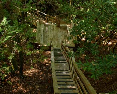 Deck Over Creek Creekside cabin. OK, my steps won't have to be this steep.