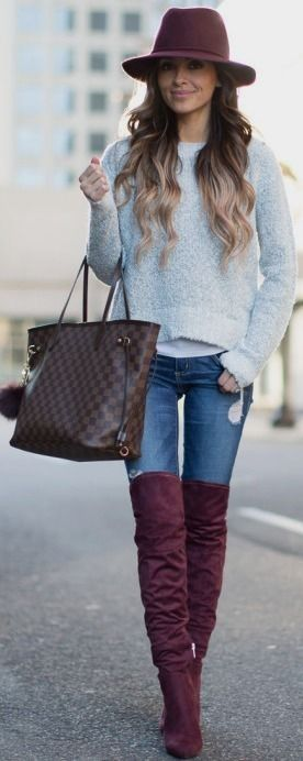 A burgundy touch to a thigh high boots outfit!