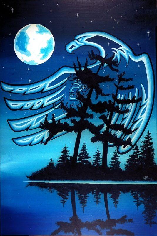 William Monague Ojibwa Art ~ Blue Moon: