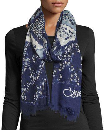 "Diane von Furstenberg woven scarf in collage denim print. Approx. 80""L x 28""W. Signature at corner. Eyelash fringe ends. Modal. Imported."