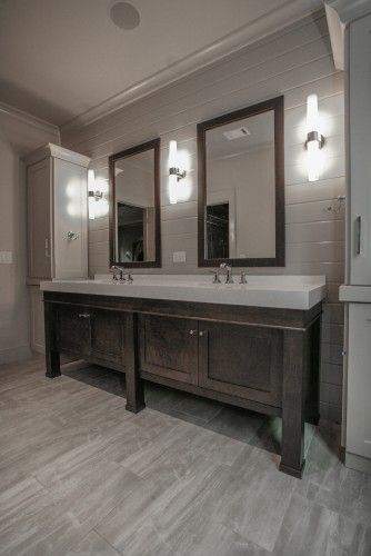 Colors of cabinets that look good with grey floor house for Grey wood floor bathroom
