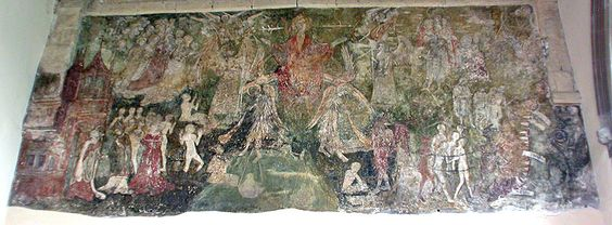 Waltham Abbey Photographs and HistoryA recently revealed medieval painting on the east wall of the Lady Chapel.  Sad to think that English churches were once nearly all completely painted out and virtually nothing has survived.