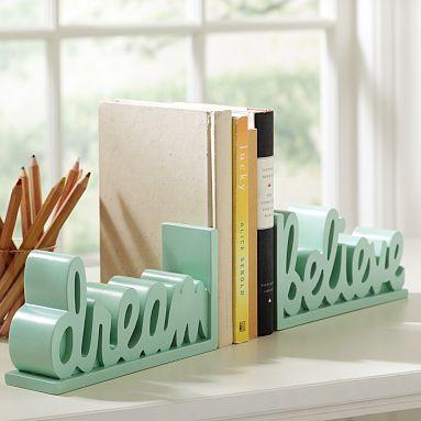 cute: Pbteen Bookends, Pbteen Bedrooms, Bookends Potterybarnteen, Bookends Pbteen, Word Bookends, Bedroom Ideas, Teen Room