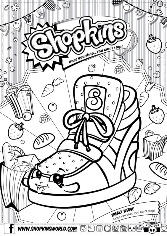 Shopkins Colour Color Page Sneaky Wedge ShopkinsWorld Shopkins Pinterest Coloring Wedges