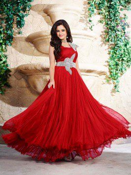 Red Net Wedding Gown (Free Size)