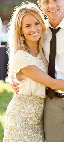 Bachelorette Emily Maynard wore the sequin batwing Parker Dolman Combo Dress Cassie Lambert's wedding August 4, 2012
