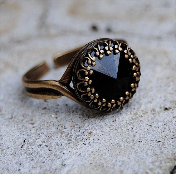 Swarovski Crystal Ring  Crown Victorian  Black Noir by MASHUGANA, $25.50