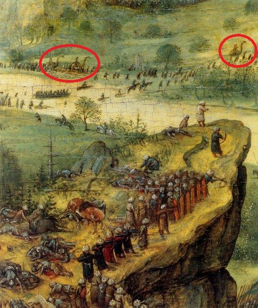 Een schilderij uit 1562, dat niet als nep wordt beschouwd. Er zijn drie dinosaurussen en we hebben mensen om hen heen