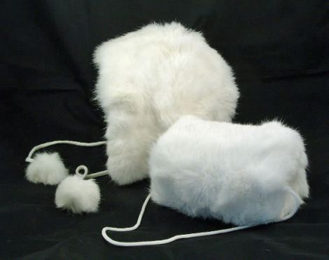 hat and muff. I had a white muff and hat like this...